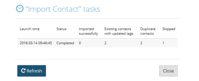 contact upload result
